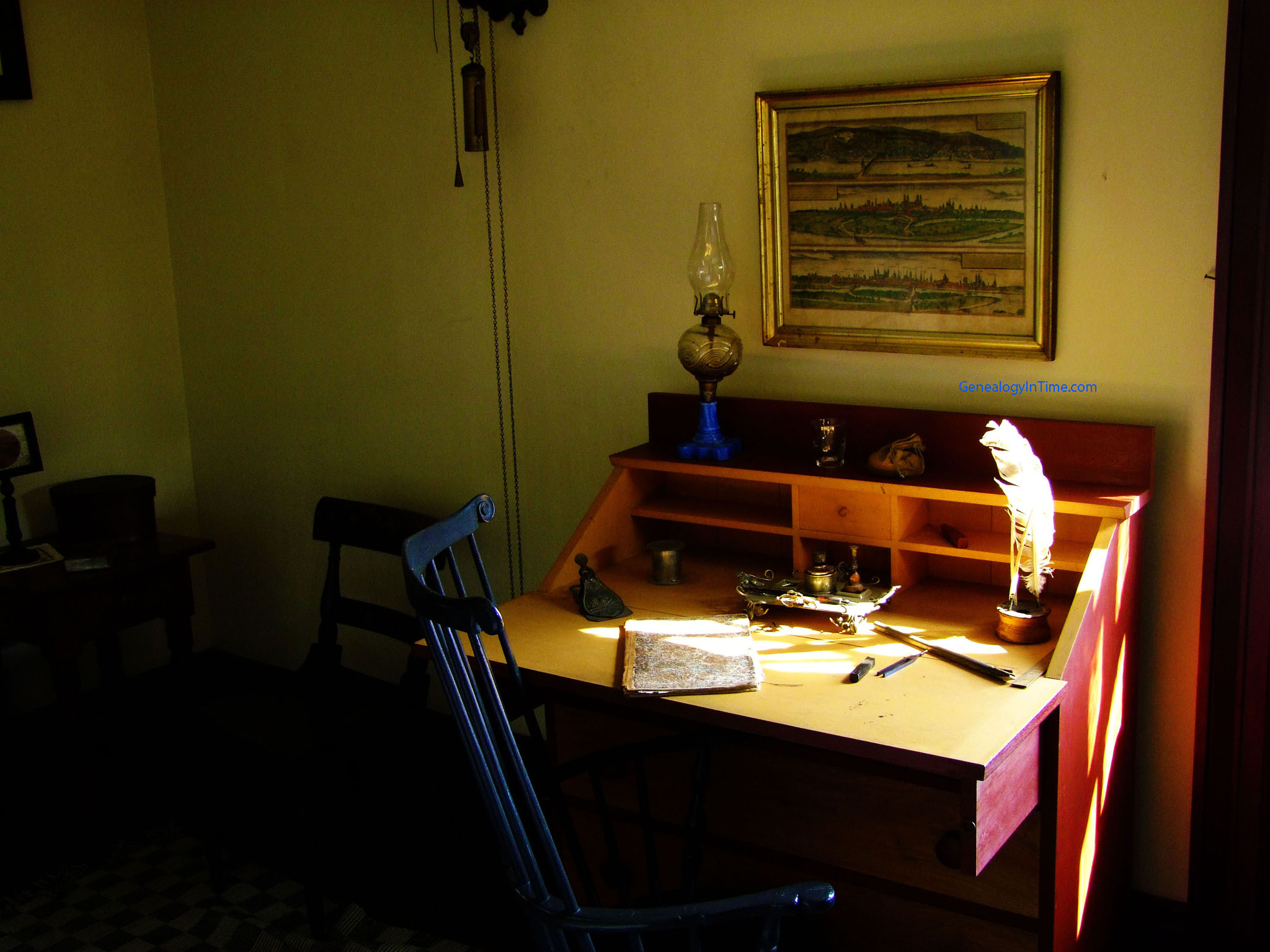 Antique Writing Desk Against Wall