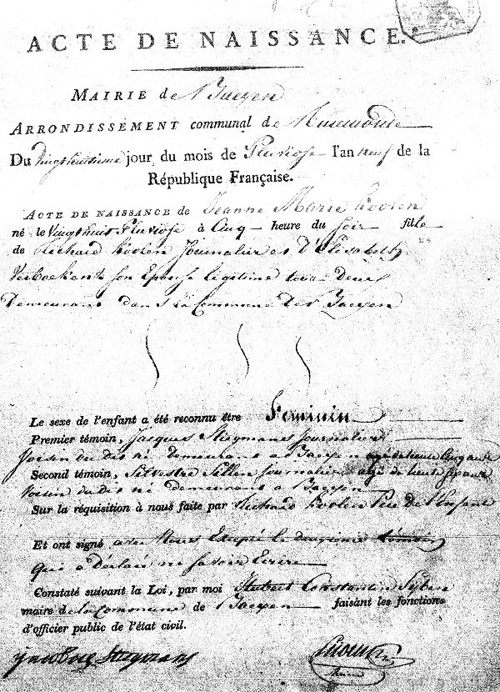 Europe genealogy records 1801 dutch birth certificate yadclub Images