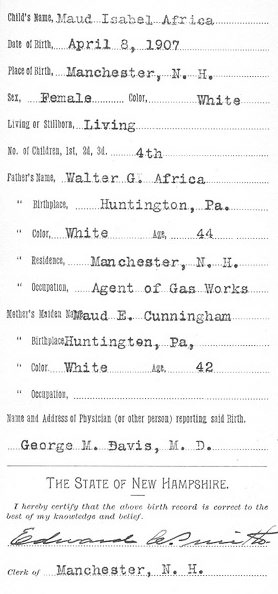 new hampshire birth certificate 1907