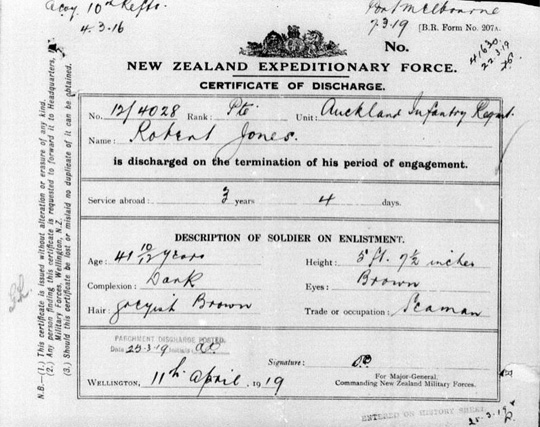 New Zealand World War I discharge paper