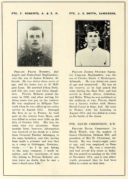Scottish role of honour WWI