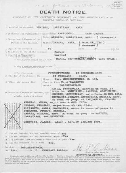 Newest genealogy records transvaal death notice yelopaper Image collections