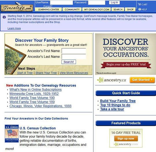old genealogy.com website