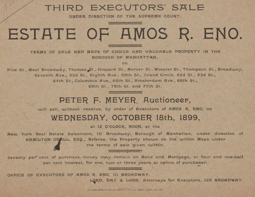 1899 New York executors sale