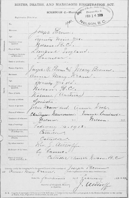 1912 BC marriage certificate