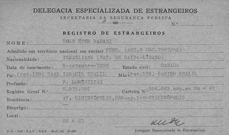 Brazil immigration card