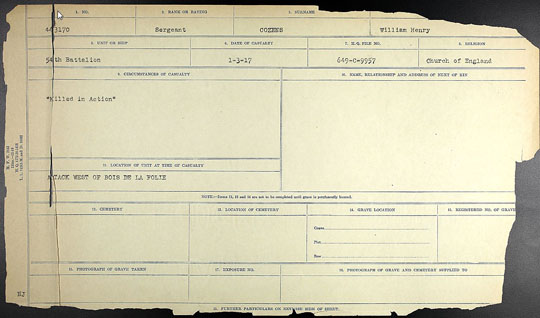 Canada World War I soldier death certificate