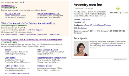Google search for Ancestry.com