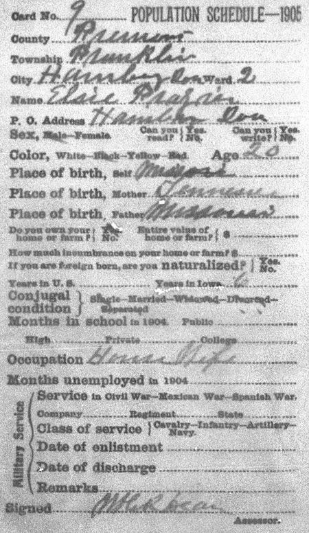 Iowa 1905 census card