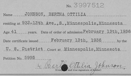 Minnesota naturalization record