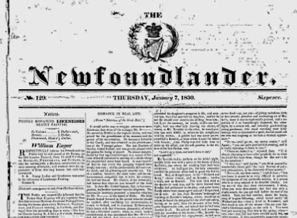 The Newfoundlander newspaper 1830