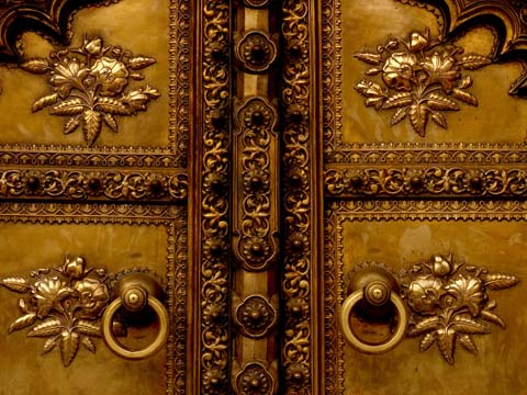 detail on bronze door