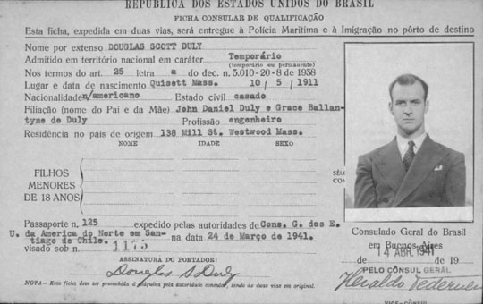 historic Brazilian immigration card