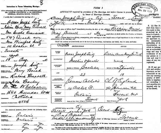 1924 Ontario marriage certificate