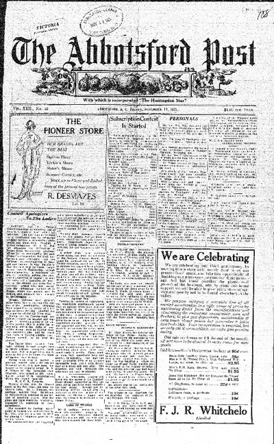 Abbotsford Post Newspaper November 1910