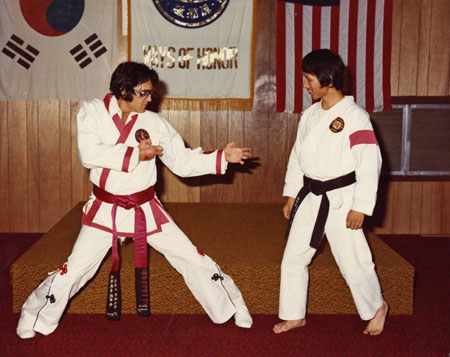Elvis trains with his teacher, Kang Rhee