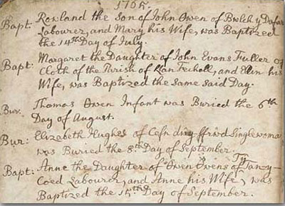 English 1700 baptism record