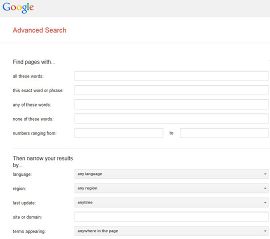 image of Google Advanced Search page
