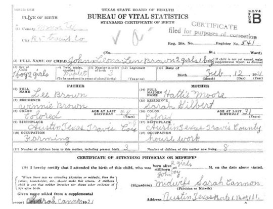 historic Texas birth certificate
