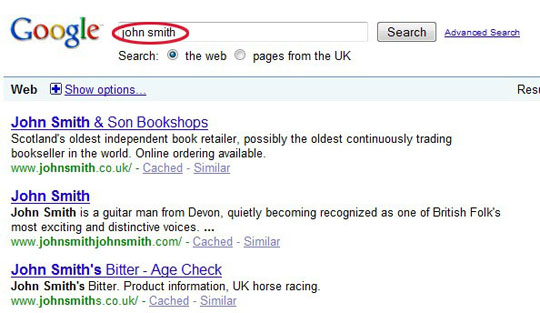 result of search for John Smith in Google.co.uk