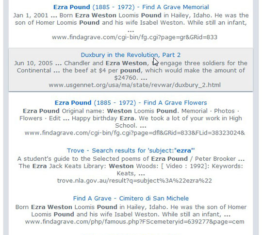 search results for Ezra Weston Pound